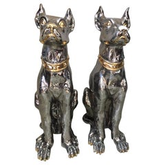 20th Century Italian Pair of Silver and Golden Ceramic Dogs