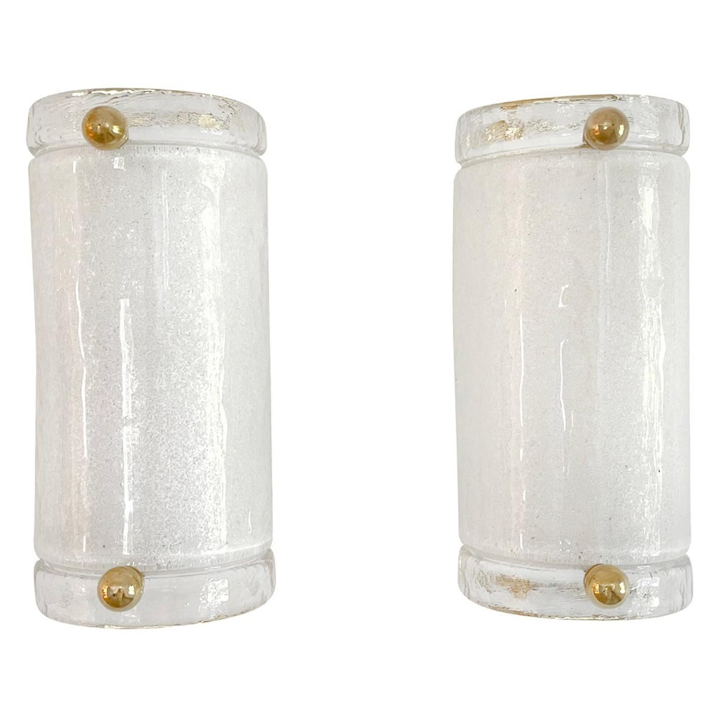 20th Century Italian Pair of Small Murano Glass Sommerso Wall Sconces