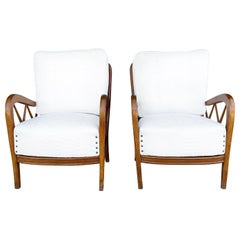 20th Century Italian Pair of Walnut Lounge Chairs by Paolo Buffa