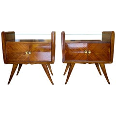 20th Century Italian Pair of Walnut Nightstands, Bedside Tables by Paolo Buffa