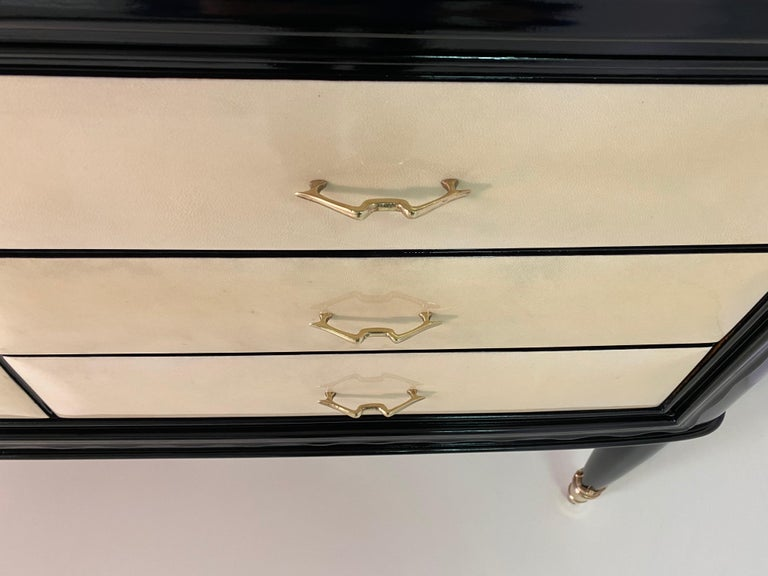 20th Century Italian Parchment and Brass Art Deco Dresser For Sale 1