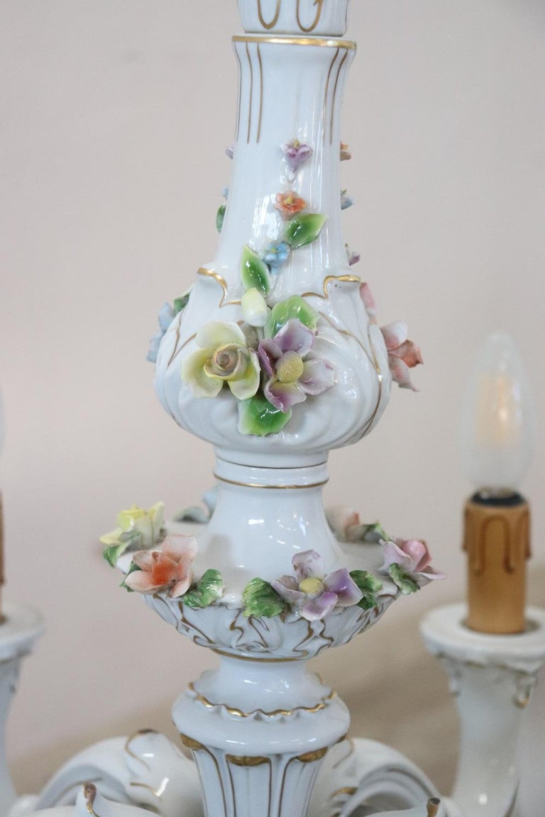 Mid-20th Century 20th Century Italian Porcelain Chandelier Decorated with Flowers For Sale