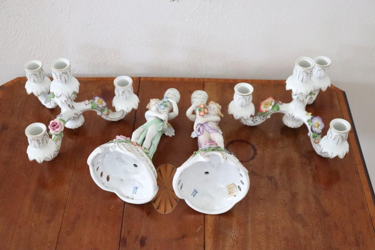 20th Century Italian Porcelain Hand Painted Pair of Candlestick or Candelabra For Sale 12
