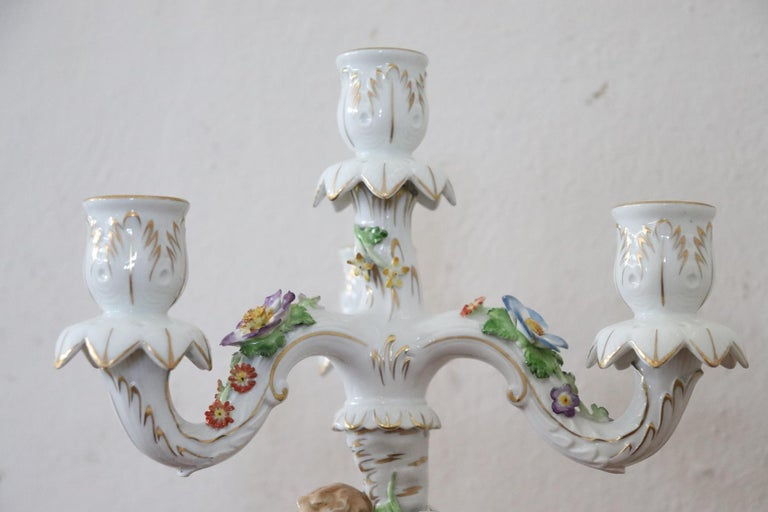 Mid-20th Century 20th Century Italian Porcelain Hand Painted Pair of Candlestick or Candelabra For Sale