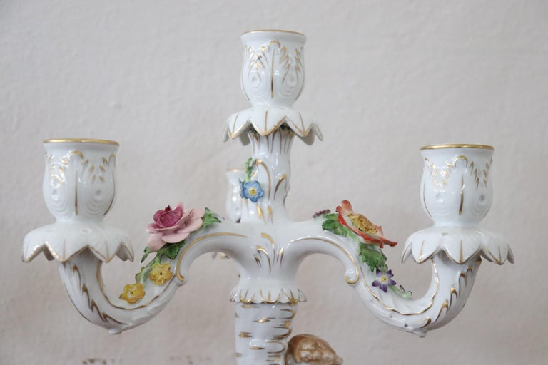 20th Century Italian Porcelain Hand Painted Pair of Candlestick or Candelabra For Sale 1