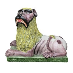 20th Century Italian Porcelain Lion Figure, Marked Italy
