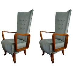 20th Century Italian Production Pair of Armchairs in Light Blue Velvet and Wood