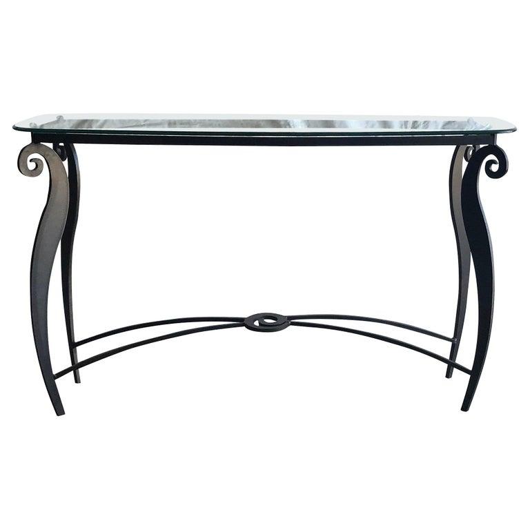 20th Century Italian Pucci De Rossi Glass Console Table For Sale