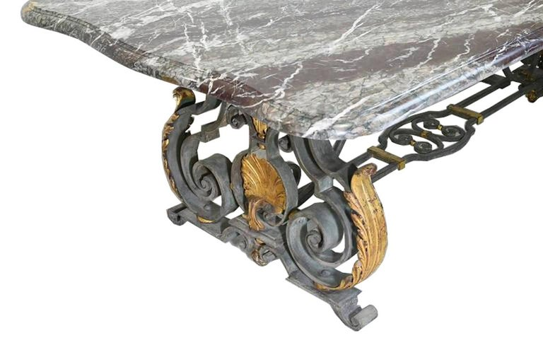 French Rococo-Style Campan Melange Marble-Top Dining Table with Forged Iron Base For Sale 6