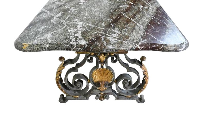 French Rococo-Style Campan Melange Marble-Top Dining Table with Forged Iron Base For Sale 3