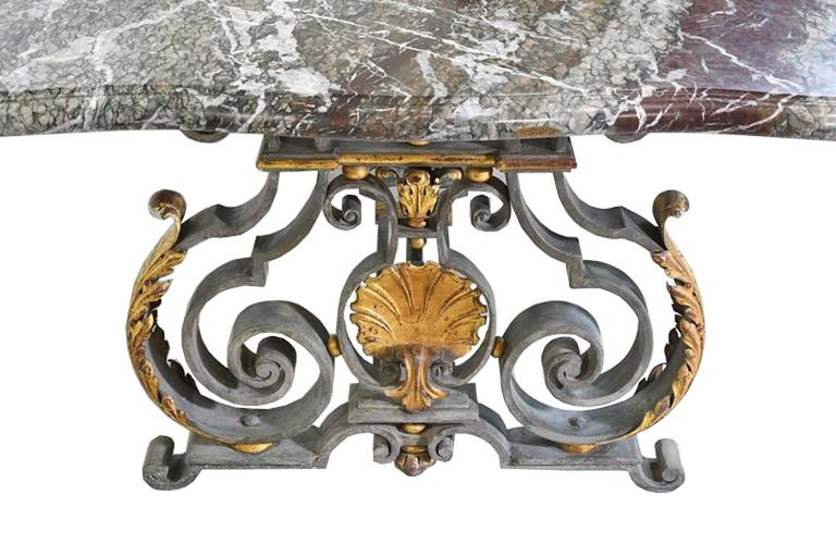 French Rococo-Style Campan Melange Marble-Top Dining Table with Forged Iron Base For Sale 4