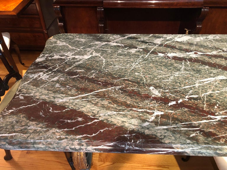 French Rococo-Style Campan Melange Marble-Top Dining Table with Forged Iron Base For Sale 8