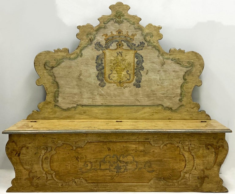 20th Century Italian Rococo Style Painted Hall Bench For Sale 1