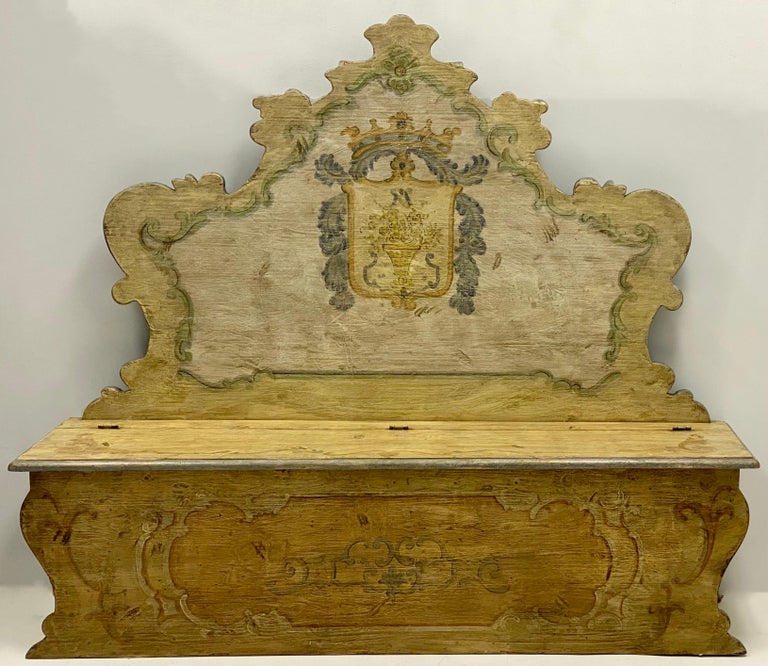 20th Century Italian Rococo Style Painted Hall Bench For Sale 2