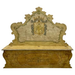 20th Century Italian Rococo Style Painted Hall Bench