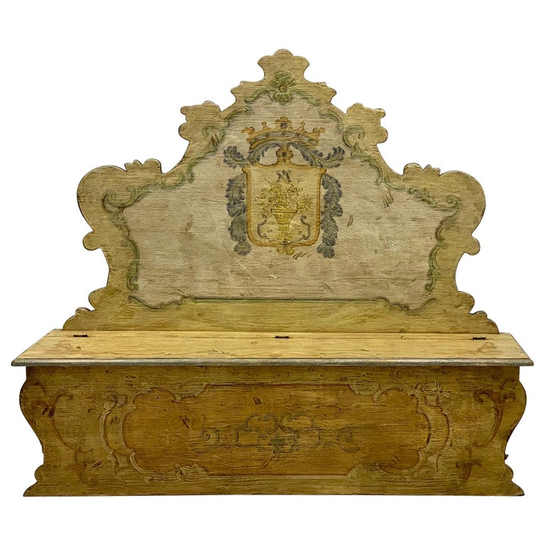 20th Century Italian Rococo Style Painted Hall Bench For Sale