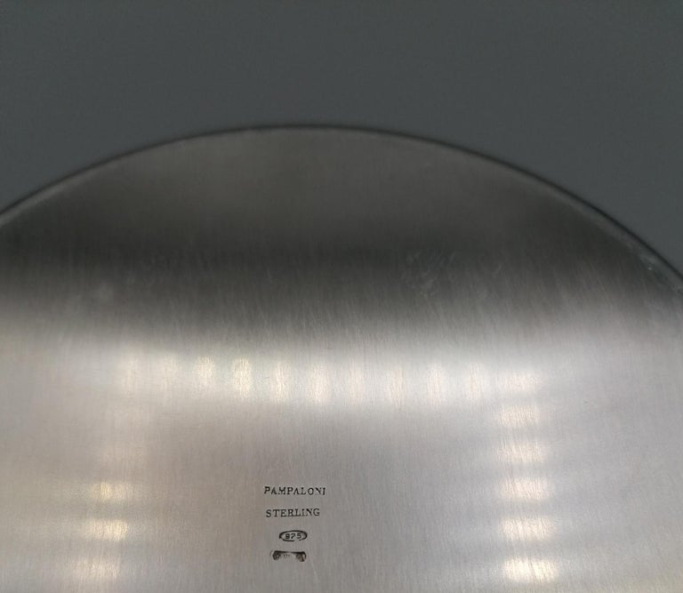20th Century Italian Round Sterling Silver Jewelry Box For Sale 5