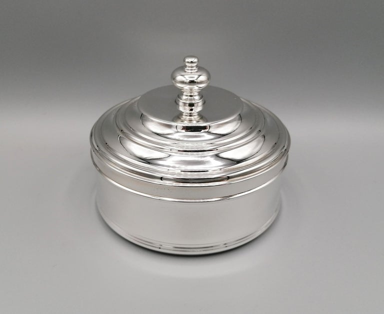 20th Century Italian Round Sterling Silver Jewelry Box For Sale 6