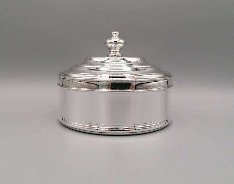 Other 20th Century Italian Round Sterling Silver Jewelry Box For Sale