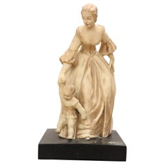 20th Century Italian Sculpture in Clay Mom with Her Baby, Signed