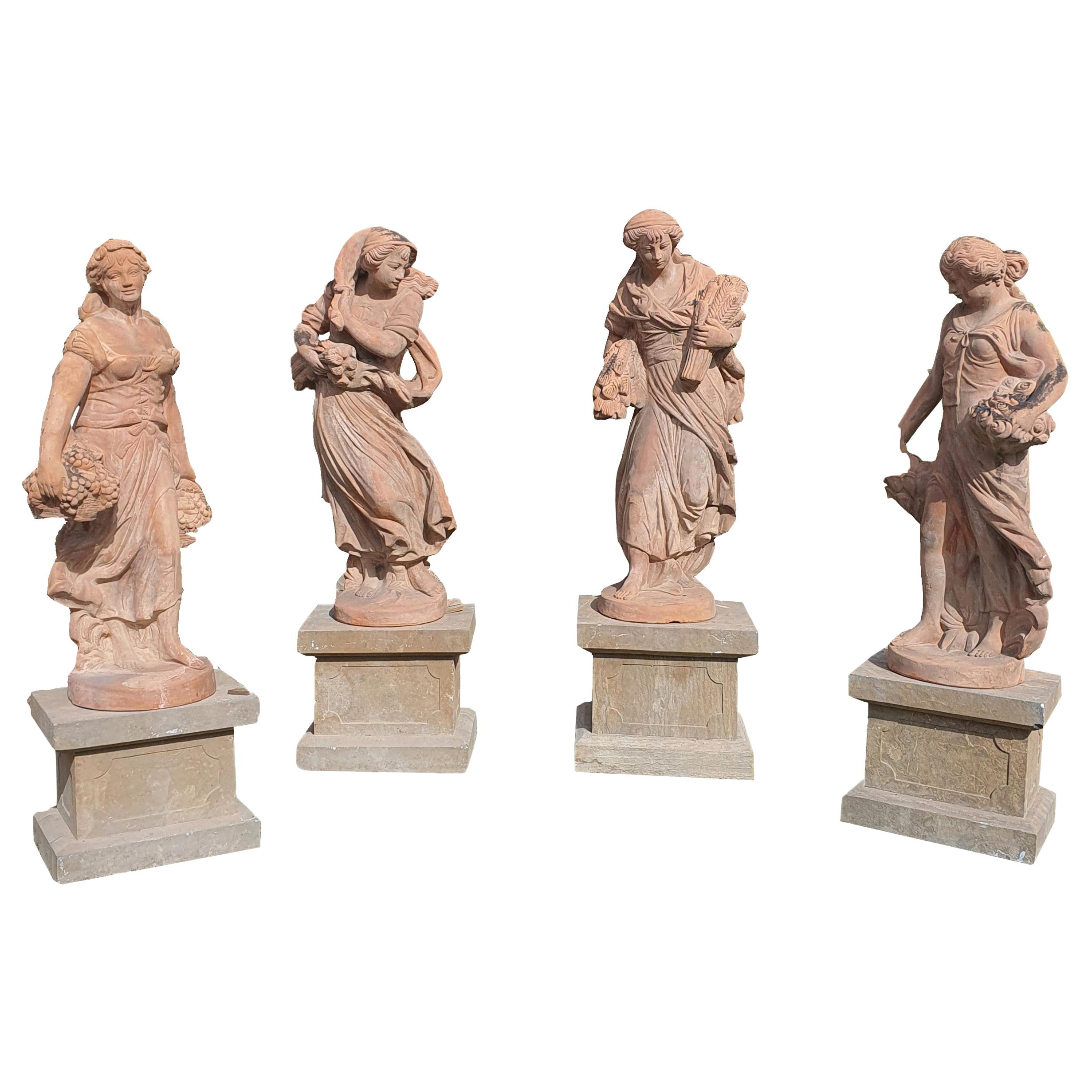 20th Century Italian Sculptures in Terracotta, Four Seasons Statues
