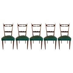 20th Century Italian Set of Five Walnut Dining Chairs by Paolo Buffa