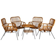 20th Century Italian Set of Four Bamboo Chairs and Table, Milan