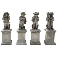 20th Century Italian Set of Four Statuettes in Hand Carved Limestone
