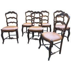 20th Century Italian Set of Six Carved Beechwood Chairs with Faux Leather Seat