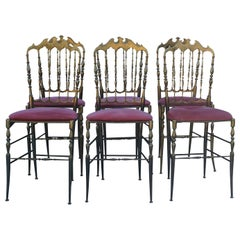20th Century Italian Set of Six Modernist Brass Chairs by Chiavari