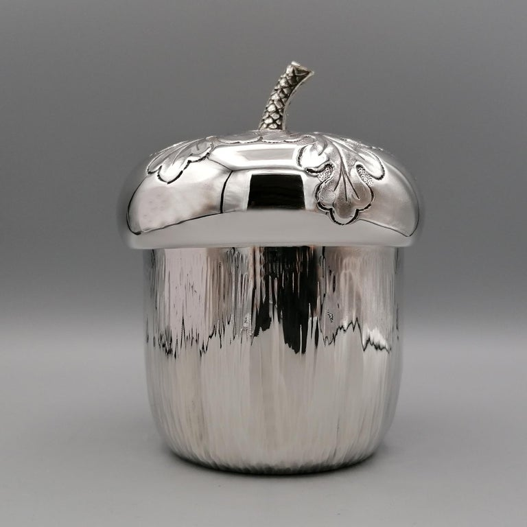 Modern 20th Century Italian Silver Box Embossed and Chiselled by Hand Acorn Shape For Sale