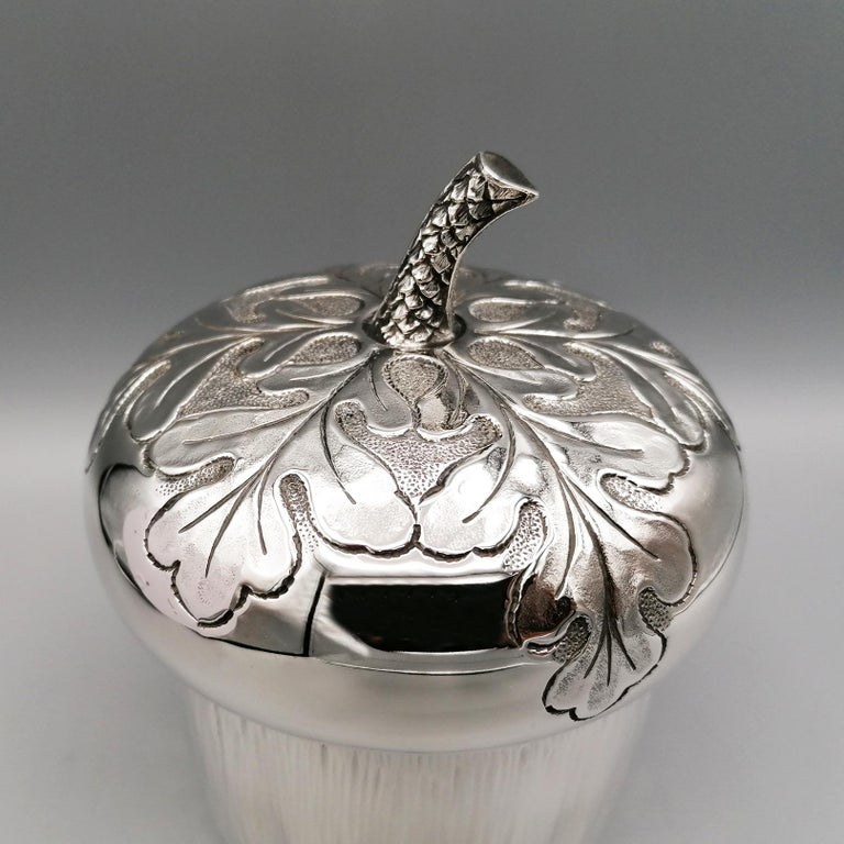 Engraved 20th Century Italian Silver Box Embossed and Chiselled by Hand Acorn Shape For Sale