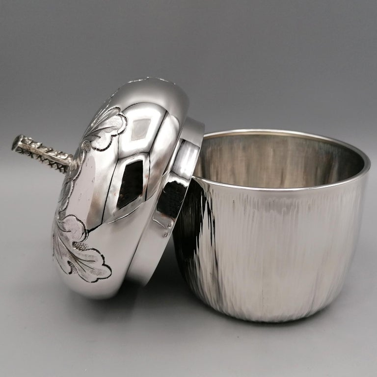 Mid-20th Century 20th Century Italian Silver Box Embossed and Chiselled by Hand Acorn Shape For Sale