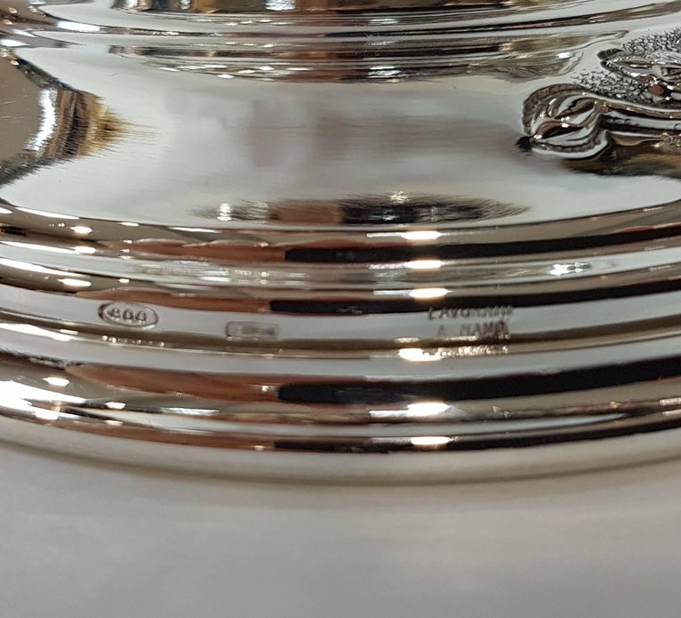 20th Century Italian Silver Centerpieces Embossed and Chiselled with Flowers For Sale 8
