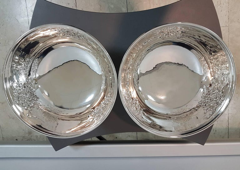 Other 20th Century Italian Silver Centerpieces Embossed and Chiselled with Flowers For Sale