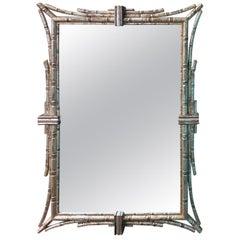 20th Century Italian Silver Gilt Faux Bamboo Mirror