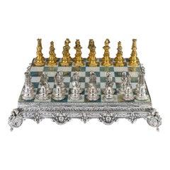20th Century Italian Silver Gilt and Marble Chess Set, circa 1960