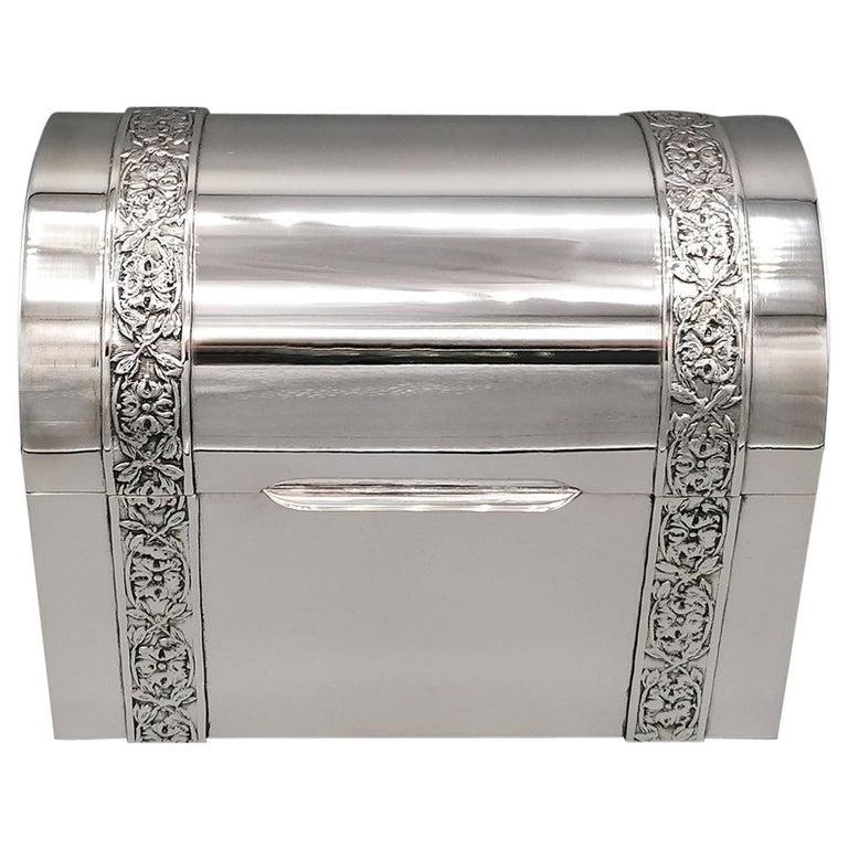 20th Century Italian Silver Jewelry box For Sale