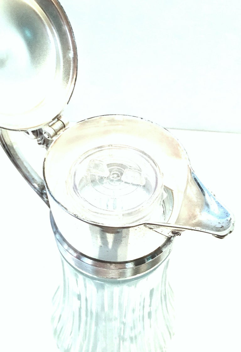 20th Century Italian Silver Plate and Cut Crystal Claret Pitcher For Sale 3