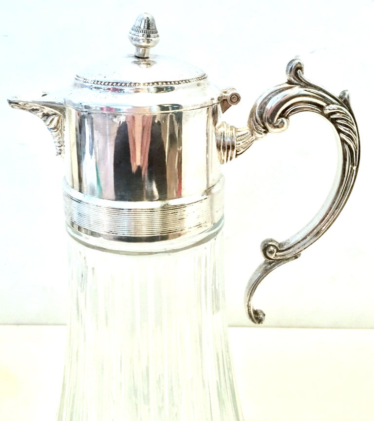 20th Century Italian Silver Plate and Cut Crystal Claret Pitcher In Good Condition For Sale In West Palm Beach, FL