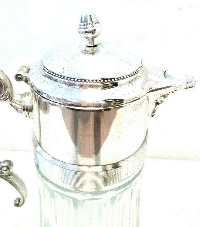 20th Century Italian Silver Plate and Cut Crystal Claret Pitcher For Sale 1