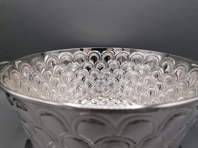 20th Century Italian Silver Round basket with handles. Handicraft made in Italy For Sale 5