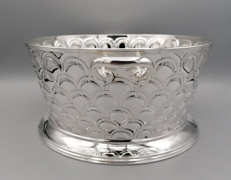 20th Century Italian Silver Round basket with handles. Handicraft made in Italy For Sale 6