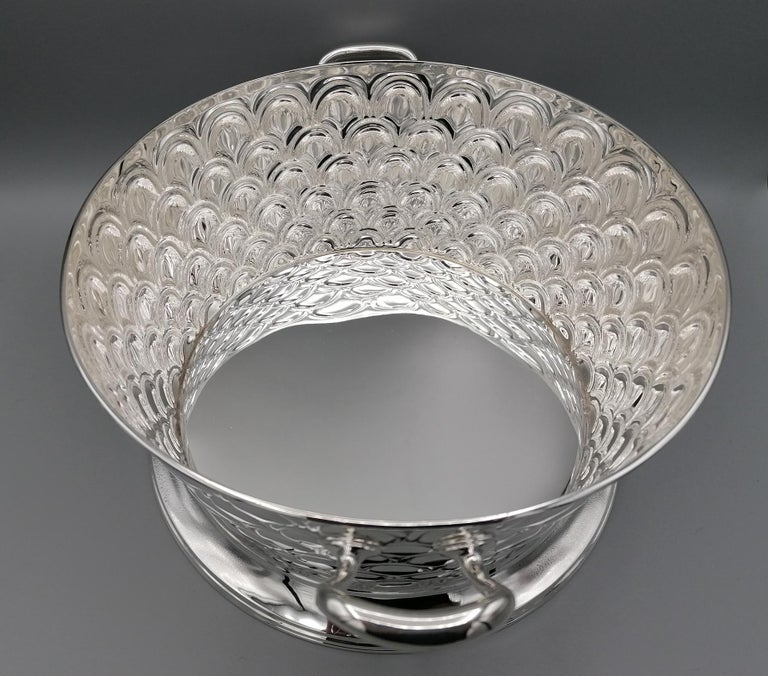 20th Century Italian Silver Round basket with handles. Handicraft made in Italy For Sale 7
