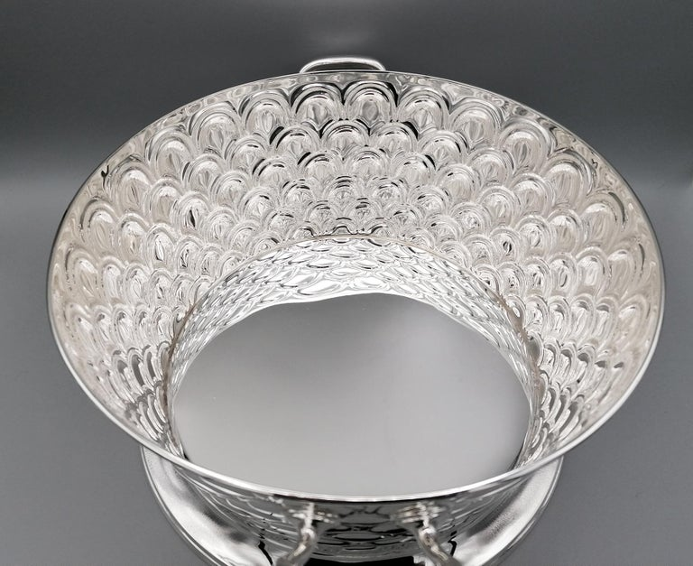 20th Century Italian Silver Round basket with handles. Handicraft made in Italy For Sale 4
