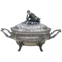 20th Century Italian Silver Soup Tureen Empire Style by Vittorio Manzoni, Milan