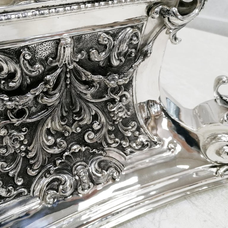 20th Century Italian Silver Table Clock Barocco revival  For Sale 3