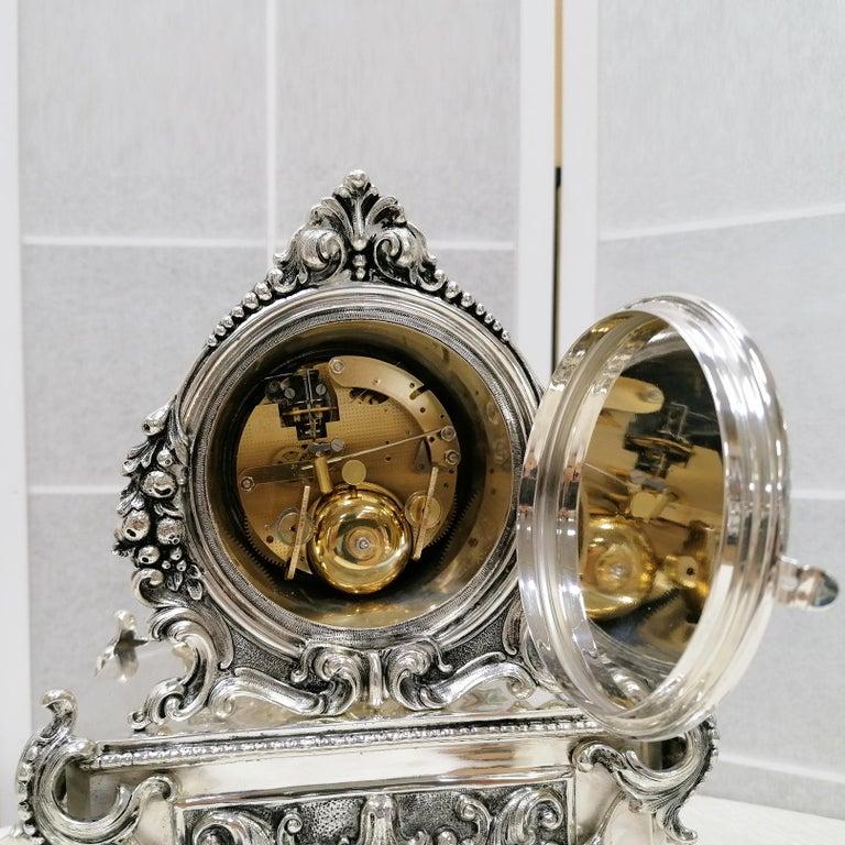 20th Century Italian Silver Table Clock Barocco revival  For Sale 5