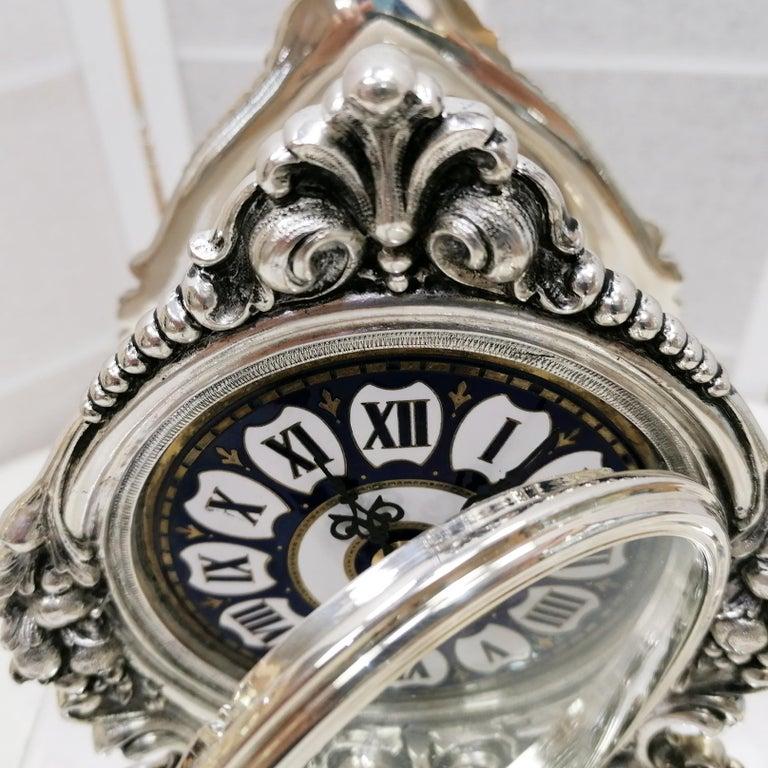 20th Century Italian Silver Table Clock Barocco revival  For Sale 9
