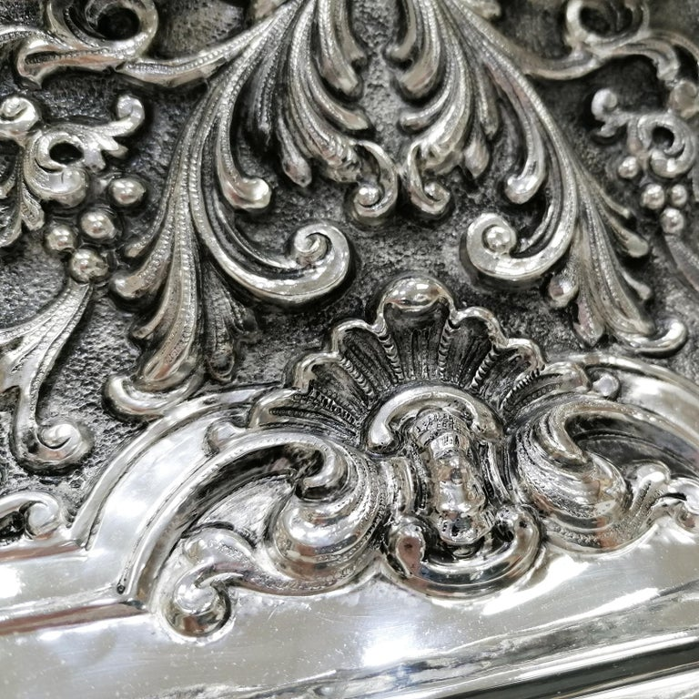20th Century Italian Silver Table Clock Barocco revival  For Sale 14